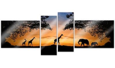 Wall - Art Mehrteilige Bilder »Afrikanische Sonne (4 - teilig)« (Set) kaufen