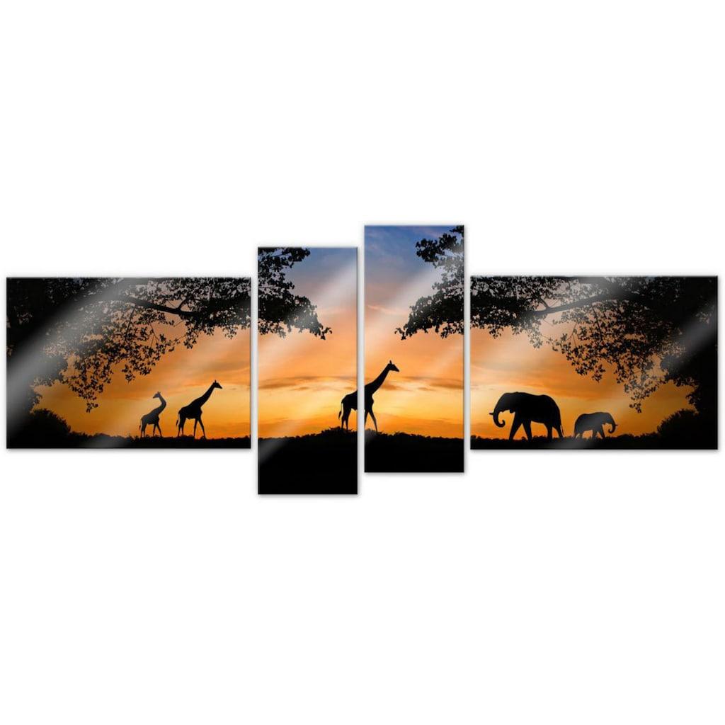 Wall-Art Mehrteilige Bilder »Afrikanische Sonne (4-teilig)«, (Set, 4 St.)