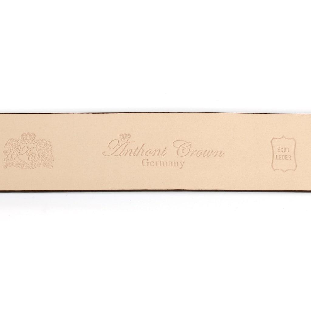 Anthoni Crown Ledergürtel, Automatik Lackledergürtel, Schließe mit Herzen