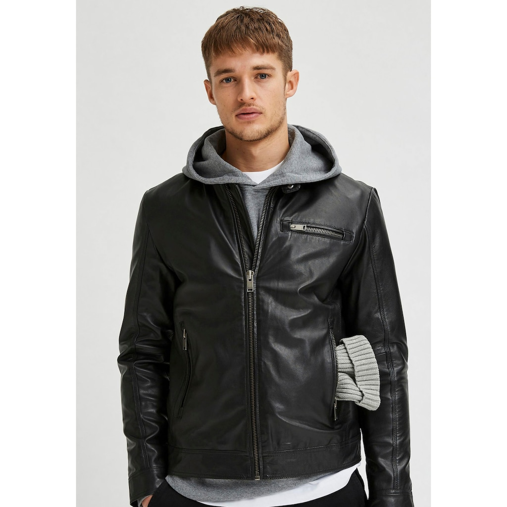 SELECTED HOMME Bikerjacke »ICONIC CLASSIC LEATHER JKT«