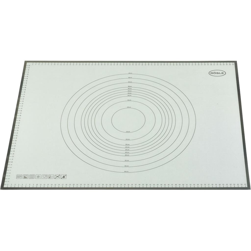 RÖSLE Backmatte, (1 tlg.), Arbeitsmatte aus strapazierfähigem Silikon, Teigmatte mit Maßen, rutschfest, hitzebeständig, spülmaschinengeeignet