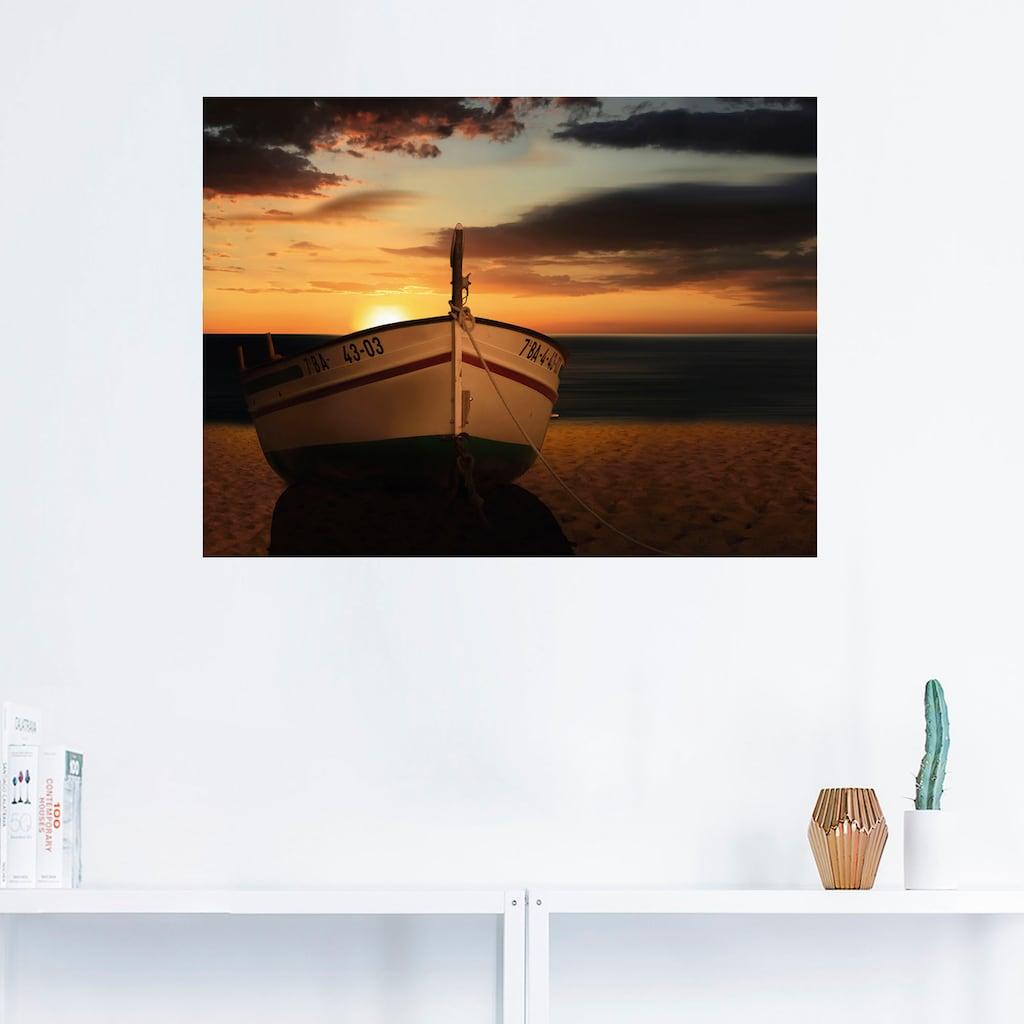 Artland Wandbild »Das Boot im Sonnenuntergang«, Küste, (1 St.), in vielen Größen & Produktarten - Alubild / Outdoorbild für den Außenbereich, Leinwandbild, Poster, Wandaufkleber / Wandtattoo auch für Badezimmer geeignet