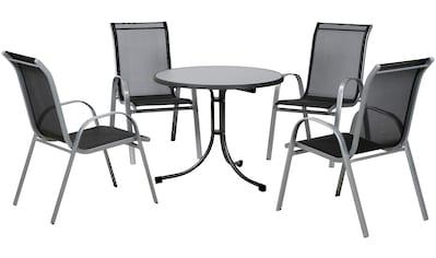 Gartenmöbelset »Saturn II«, 5 - tlg., Alu/Stahl, 4 Stühle, Tisch Ø85, klappbar, stapelbar kaufen