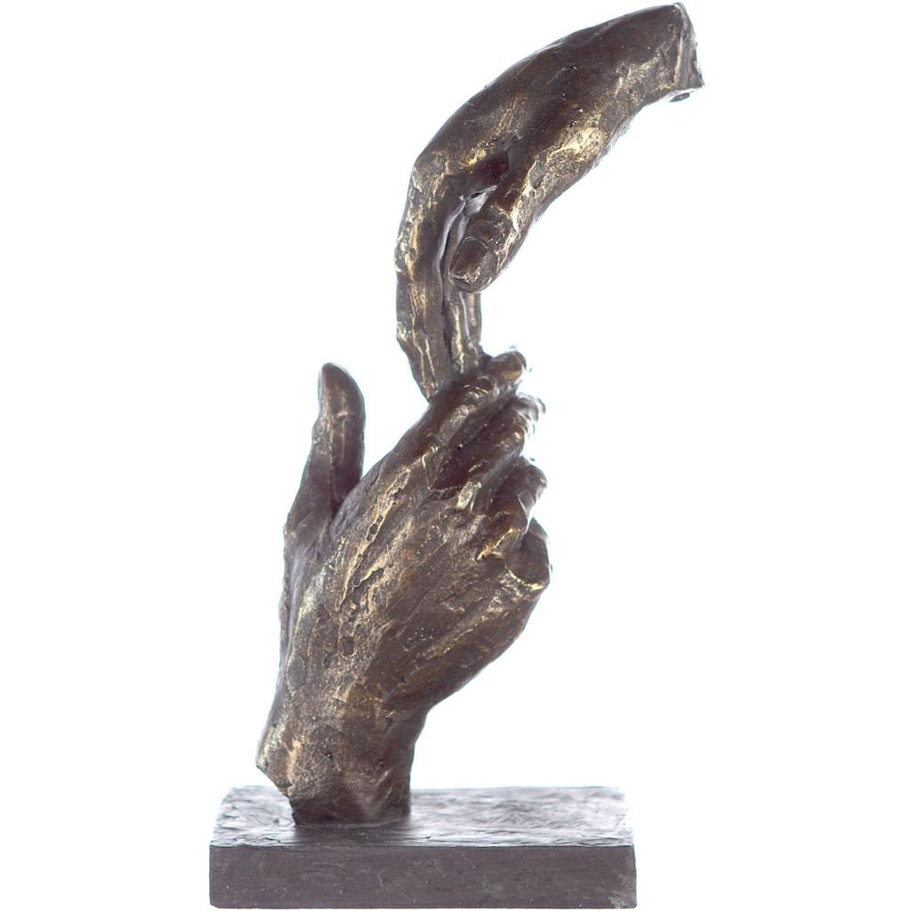 Casablanca by Gilde Dekofigur »Skulptur Two Hands, bronzefarben/grau«, Dekoobjekt, Höhe 29, Hände, mit Spruchanhänger, Wohnzimmer