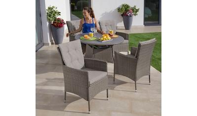 KONIFERA Gartenmöbelset »Mailand«, (13 tlg.), 4 Sessel, Tisch Ø 1 cm, Polyrattan kaufen