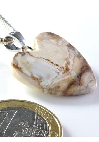 Adelia´s Kettenanhänger »Versteinertes Holz Anhänger Herz 925 Silber« kaufen
