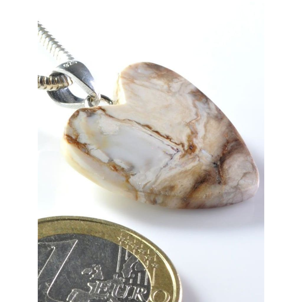 Adelia´s Kettenanhänger »Versteinertes Holz Anhänger Herz 925 Silber«