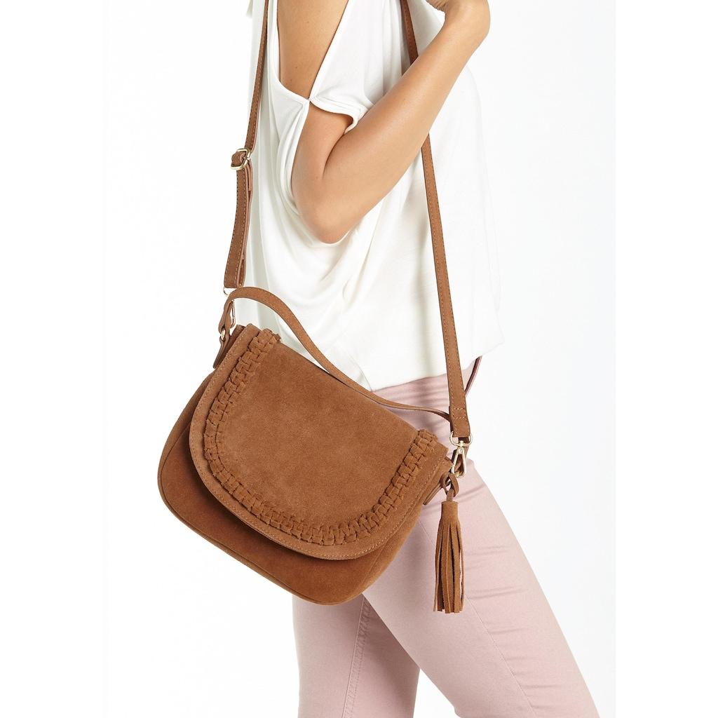 LASCANA Umhängetasche, Tasche aus Leder mit Tassel