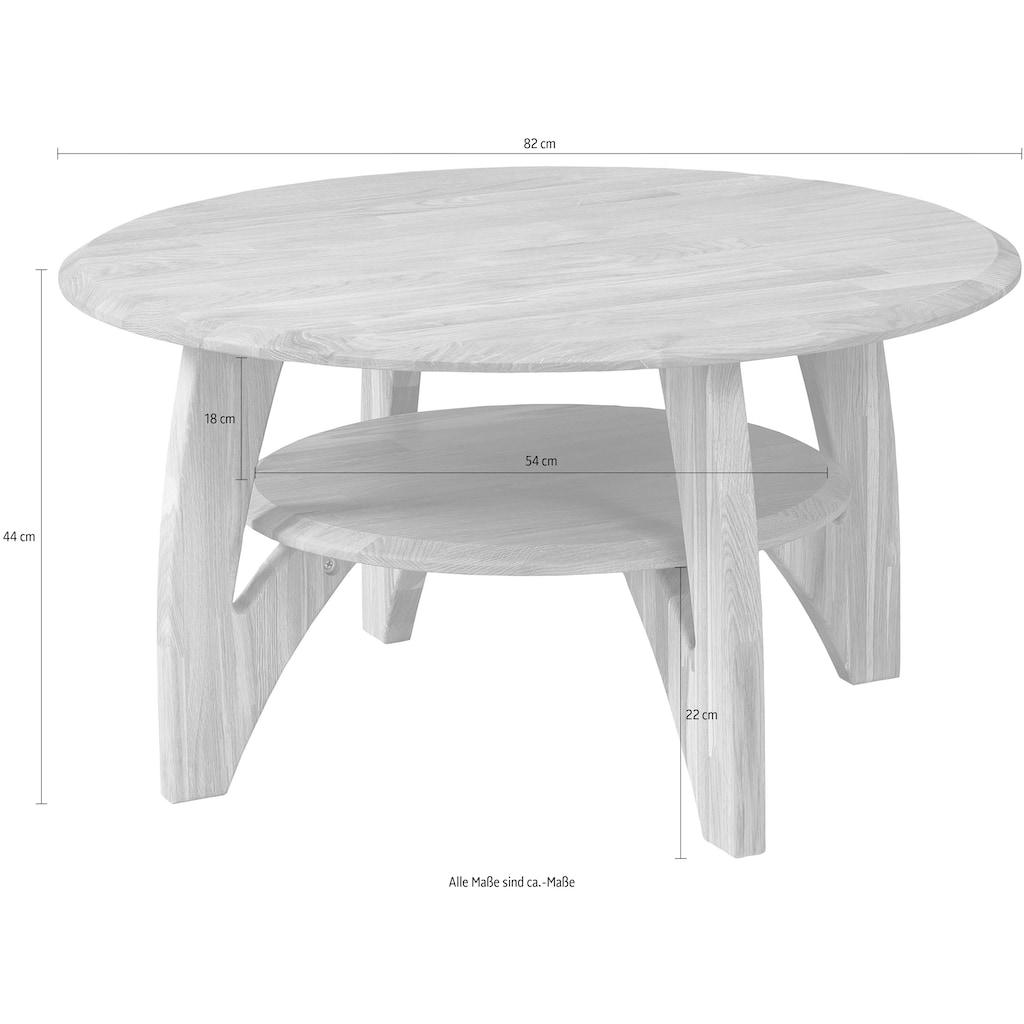 Home affaire Couchtisch »Wankde«, aus schönem massivem Eichenholz, mit einem Ablageboden, runde Tischform