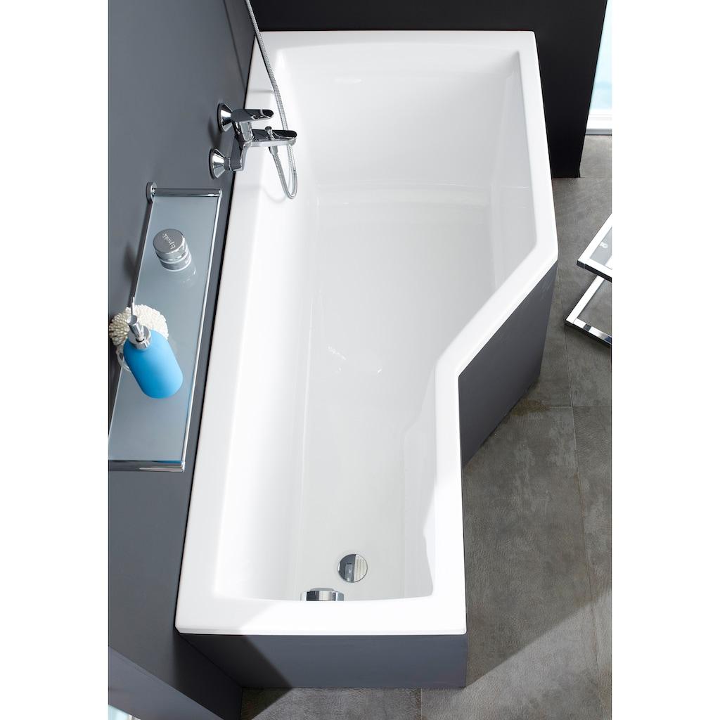 OTTOFOND Badewanne »Cello«, mit Fußgestell, Ablaufgarnitur und 1-tlg Echtglas Wannenaufsatz
