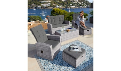 KONIFERA Loungeset »Lyon«, 12 - tlg., 2er Sofa, 2 Sessel, 2 Hocker, Tisch, Polyrattan kaufen