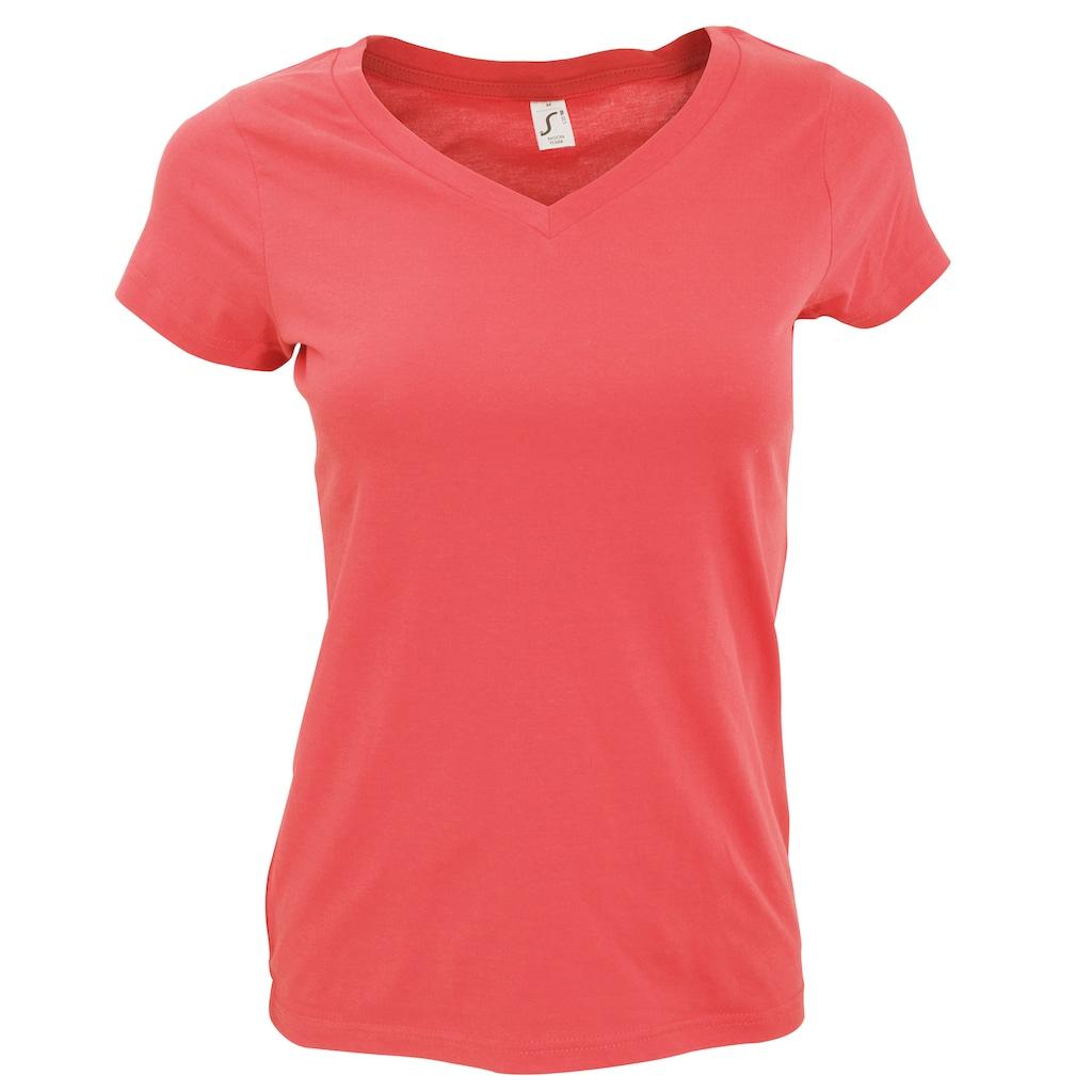 SOLS V-Shirt »Moon Damen T-Shirt, Kurzarm, V-Ausschnitt«