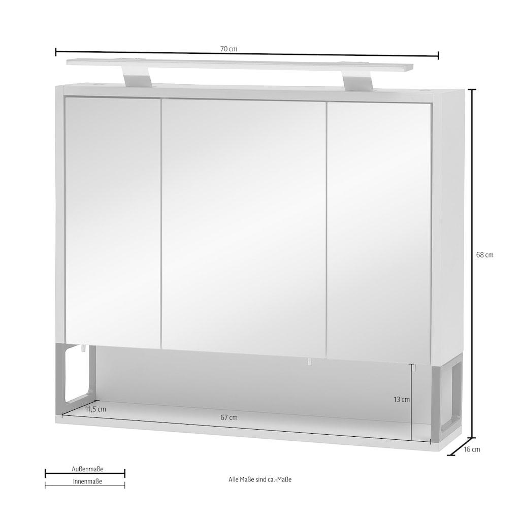 Schildmeyer Spiegelschrank »Limone«, Breite 70 cm, 3-türig, LED-Beleuchtung, Schalter-/Steckdosenbox, Regalfach, Glaseinlegeböden, Made in Germany