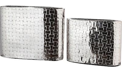 GILDE Dekovase »Treccia«, aus Aluminium, mit Flechtmuster, Schmale Vase kaufen