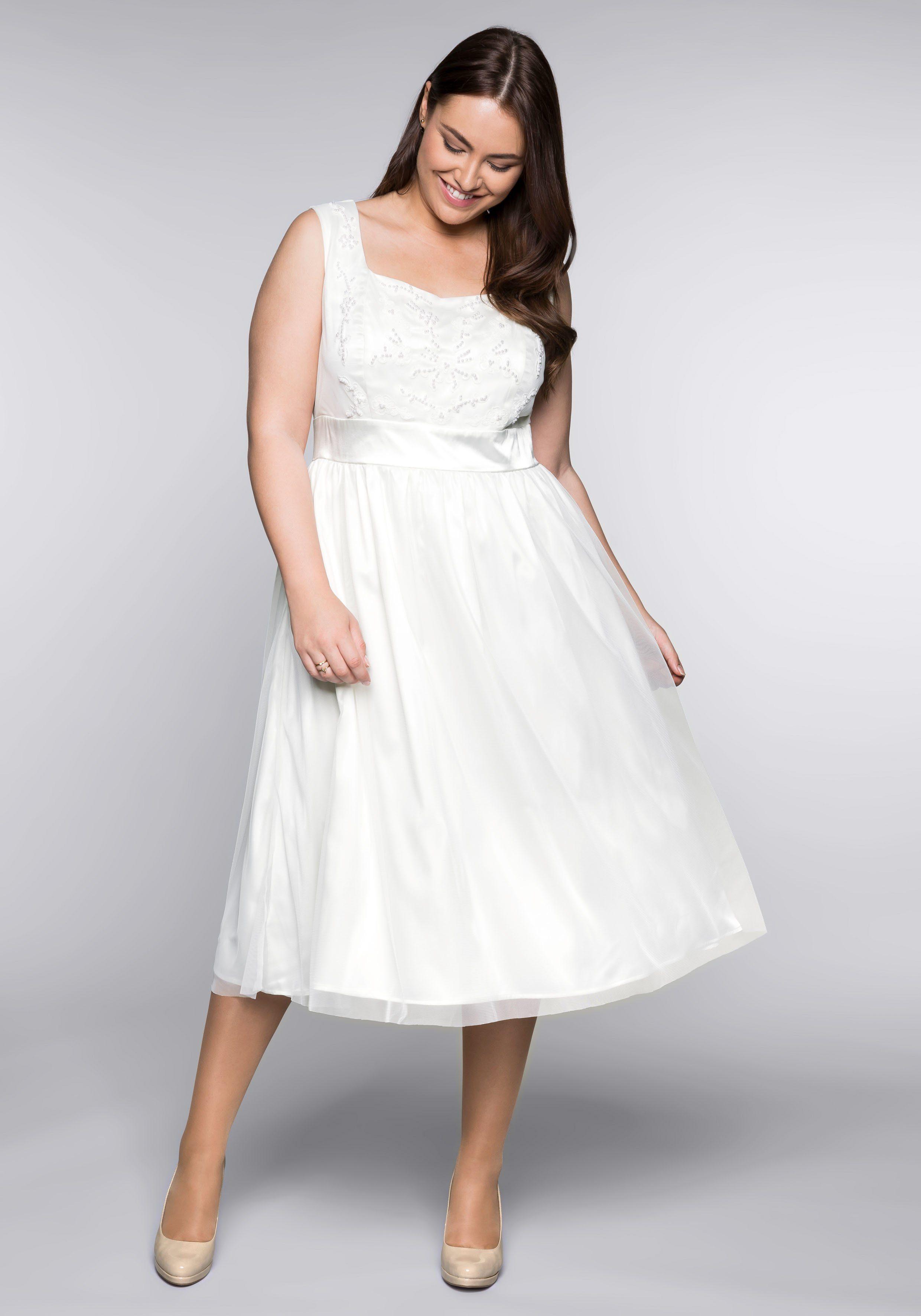 Sheego Abendkleid, mit Stickerei weiß Damen Abendkleid Abendkleider Kleider