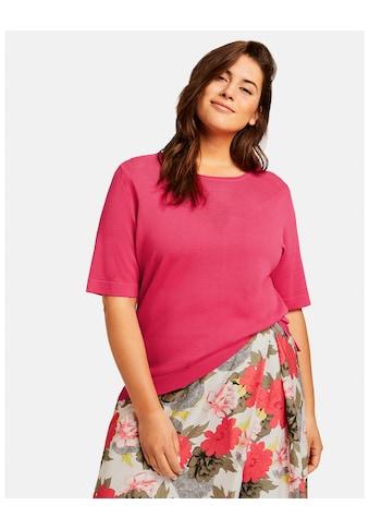 Samoon Strick, Shirt, Top, Body »Kurzarmpullover mit Ajourmuster« kaufen
