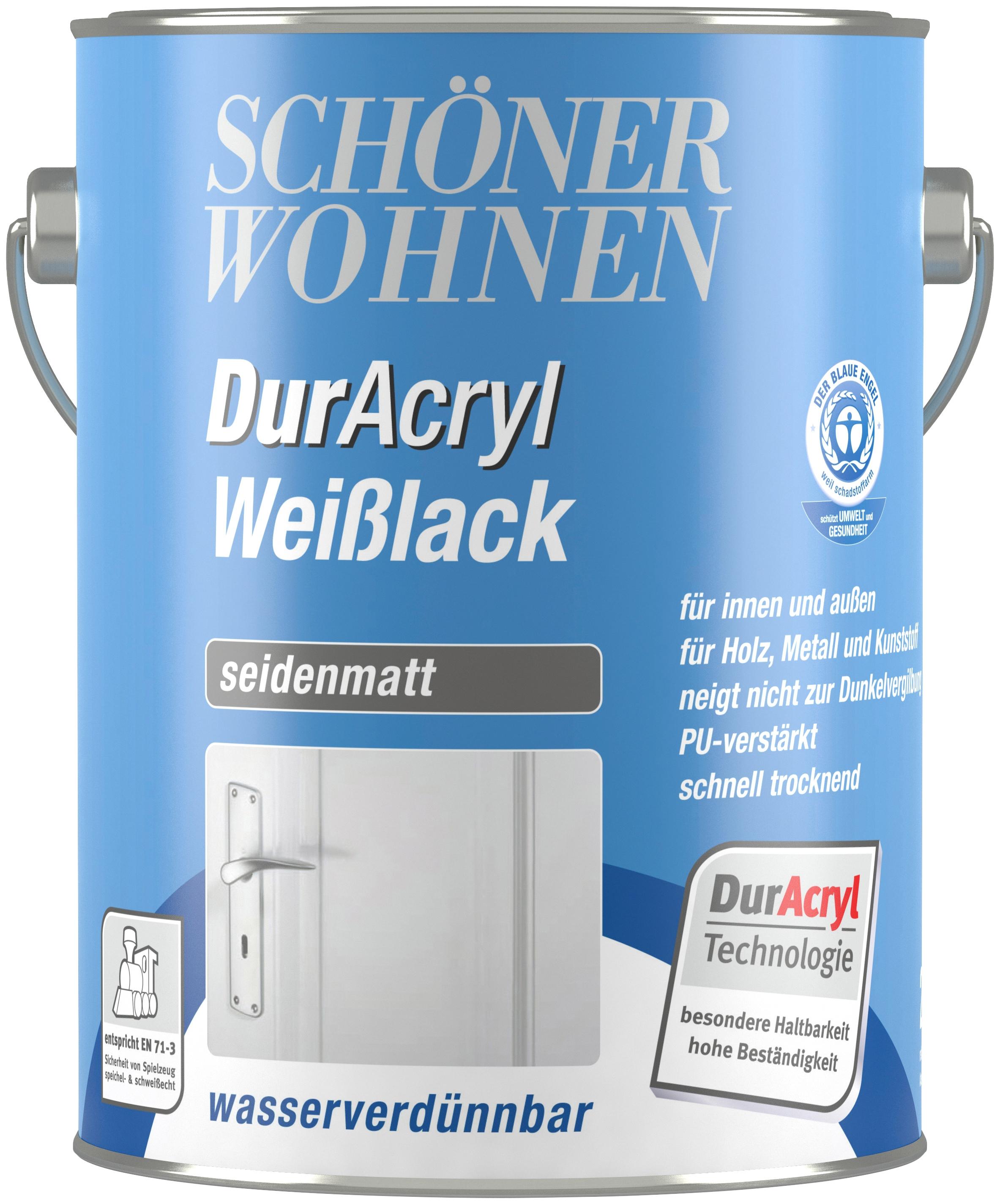 SCHÖNER WOHNEN FARBE Weißlack »Duracryl Weißlack seidenmatt seidenmatt, 2,5  L« günstig | BAUR