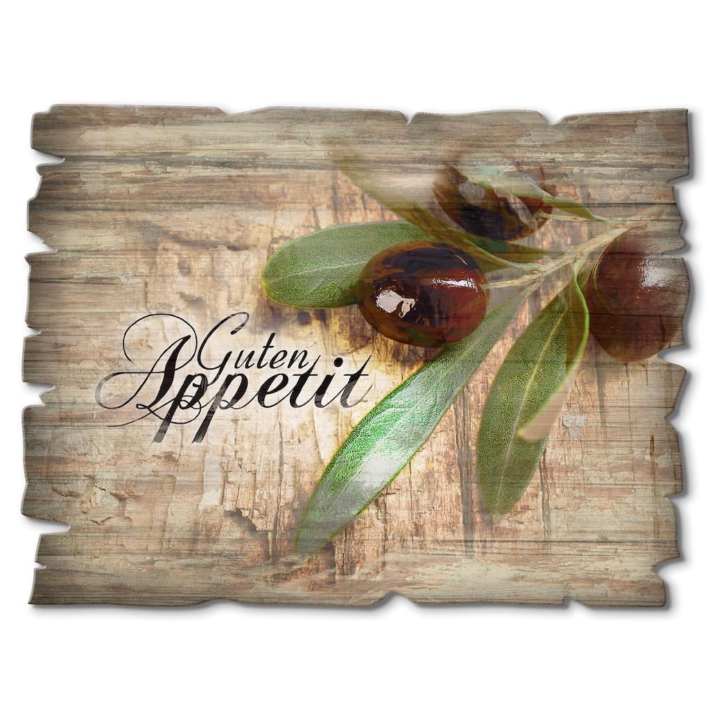 Artland Holzbild »Oliven Guten Appetit«, Speisen, (1 St.)