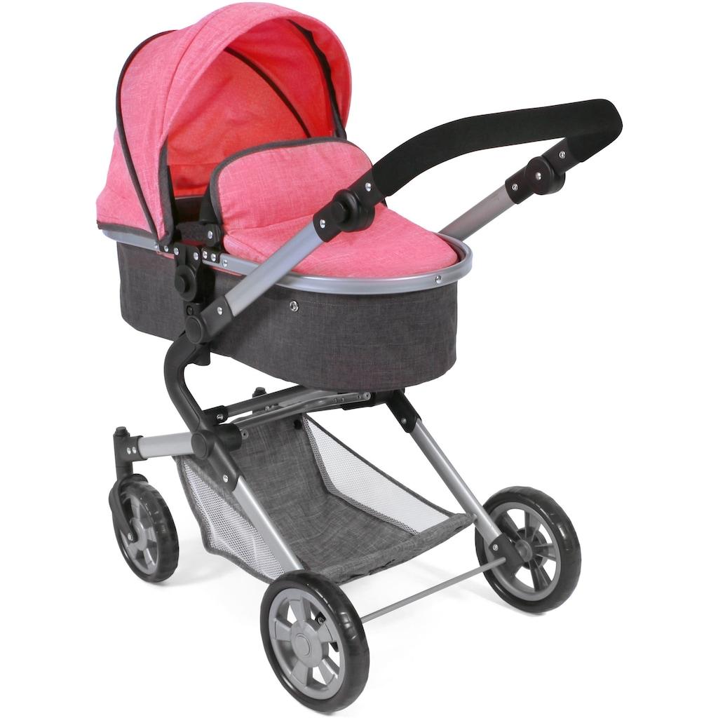 CHIC2000 Kombi-Puppenwagen »Lia, anthrazit-pink«, mit Puppen-Autositz