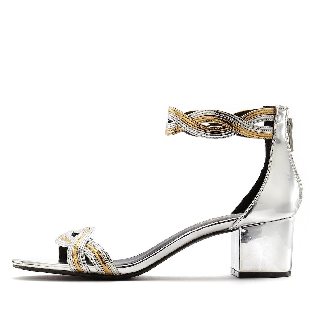 LASCANA Sandalette, mit Blockabsatz in Metallic-Optik