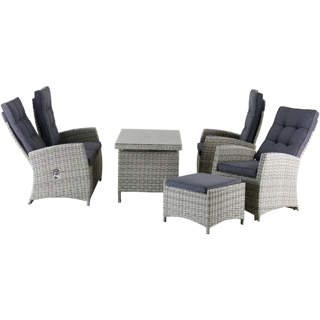 KONIFERA Gartenmöbelset »Monaco«, 16-tlg., 2er Sofa, 2 Sessel, 2 Hocker, Tisch, Polyrattan