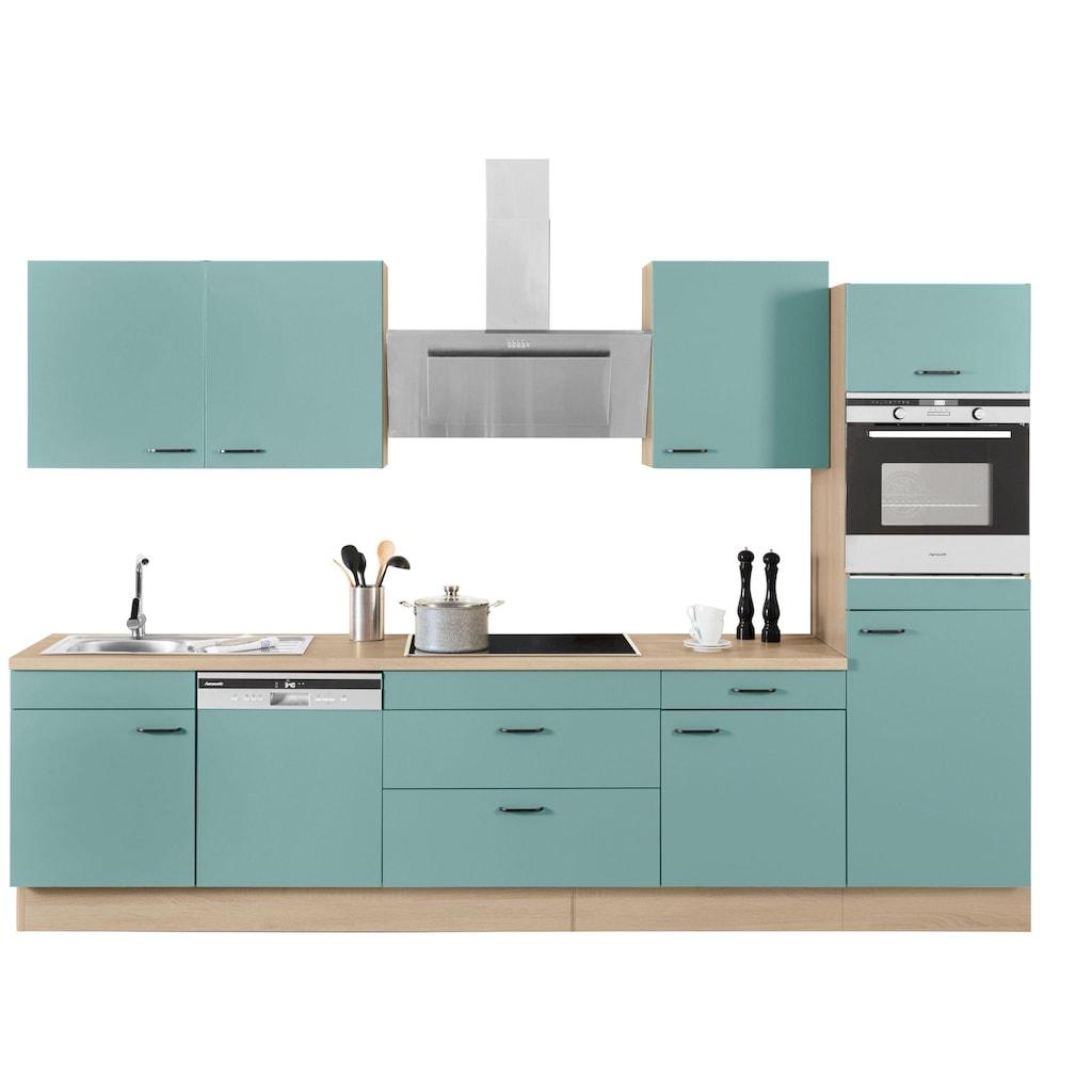 OPTIFIT Küchenzeile »Elga«, ohne E-Geräte, Premium-Küche mit Soft-Close-Funktion, großen Vollauszügen, höhenverstellbaren Füßen, Metallgriffen und 38 mm starker Arbeitsplatte, Breite 330 cm