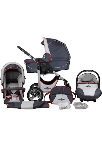 "bergsteiger Kombi - Kinderwagen ""Capri, grey & red stripes, 3in1"", (10 - tlg.) kaufen"