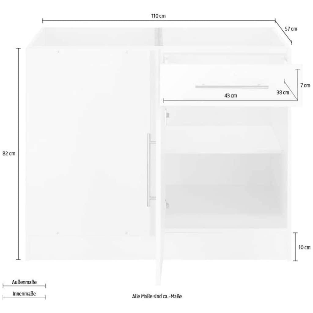 wiho Küchen Eckunterschrank »Cali«, 110 cm breit, ohne Arbeitsplatte