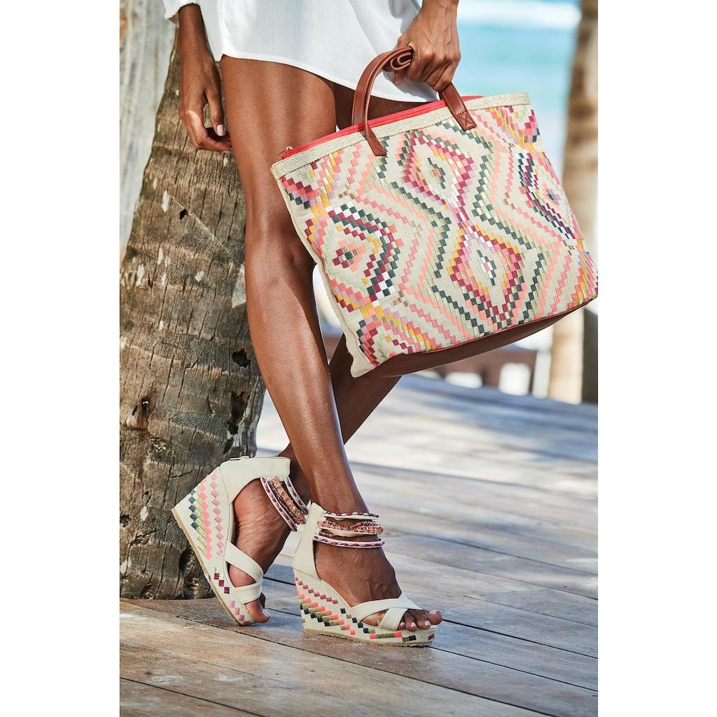 LASCANA High-Heel-Sandalette, mit verziertem Keilabsatz