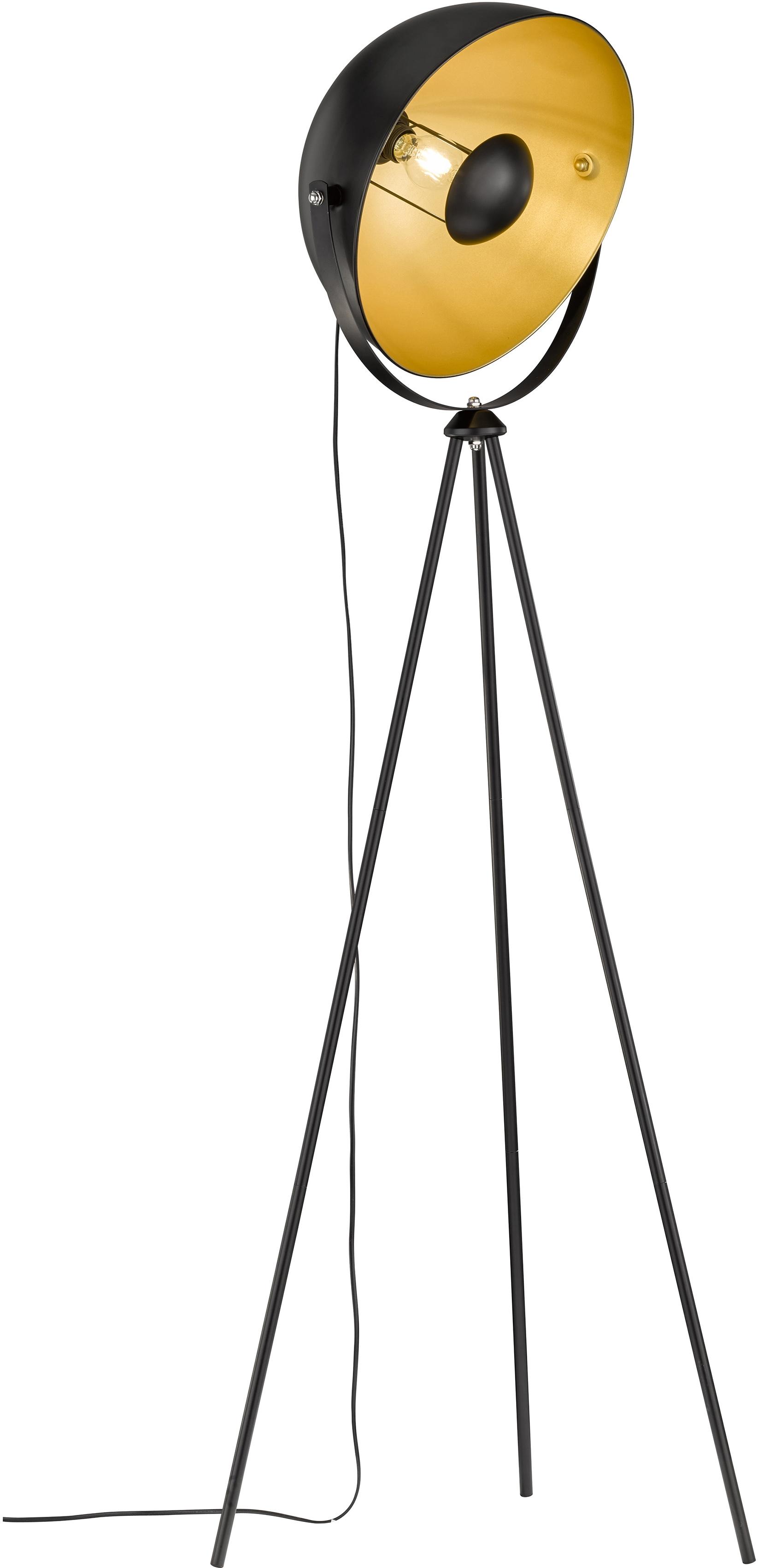 WOFI Stehlampe Mona, E27, Stehleuchte, schwenkbar, standfestes Dreibein, indirekte Beleuchtung, schwarz goldfarben