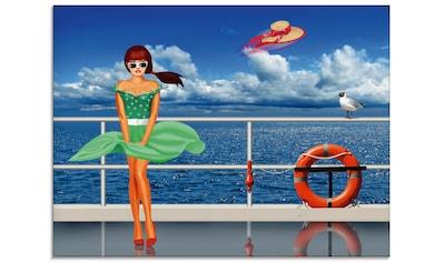 Artland Glasbild »Pin-up girl an der Reling«, Frau, (1 St.) kaufen