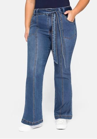 Sheego Stretch-Jeans, Schlagjeans mit High-Waist-Bund kaufen