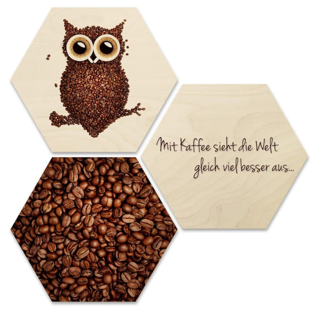 Wall-Art Mehrteilige Bilder »Collage Kaffee Eule Holzdeko«, (Set, 3 St.)