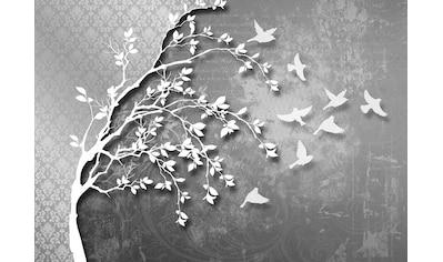 Consalnet Vliestapete »Silber Baum mit Vögeln«, verschiedene Motivgrößen, für das Büro oder Wohnzimmer kaufen