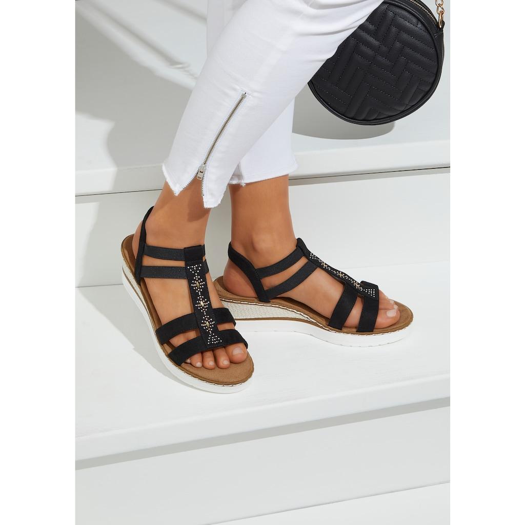 LASCANA Sandalette, mit Keilabsatz und dekorativen Schmucksteinen