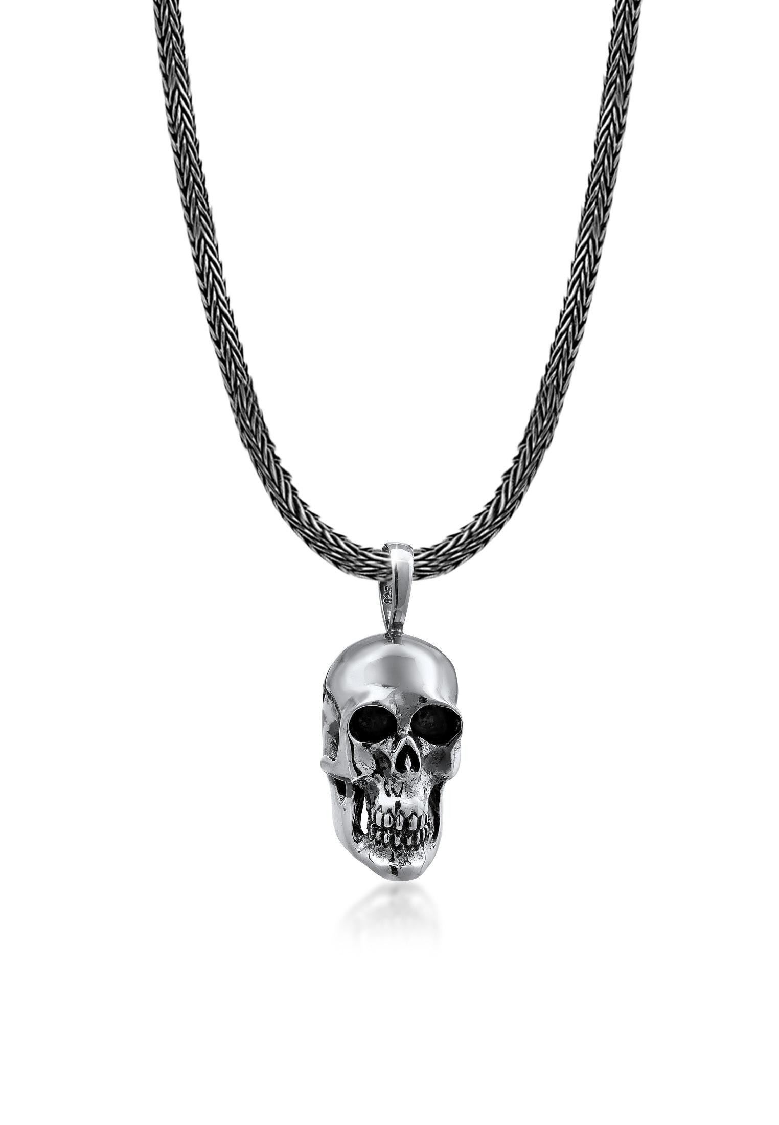 Kuzzoi Silberkette Männerkette Totenkopf Anhänger Massiv 925 Silber | Schmuck > Halsketten | Kuzzoi
