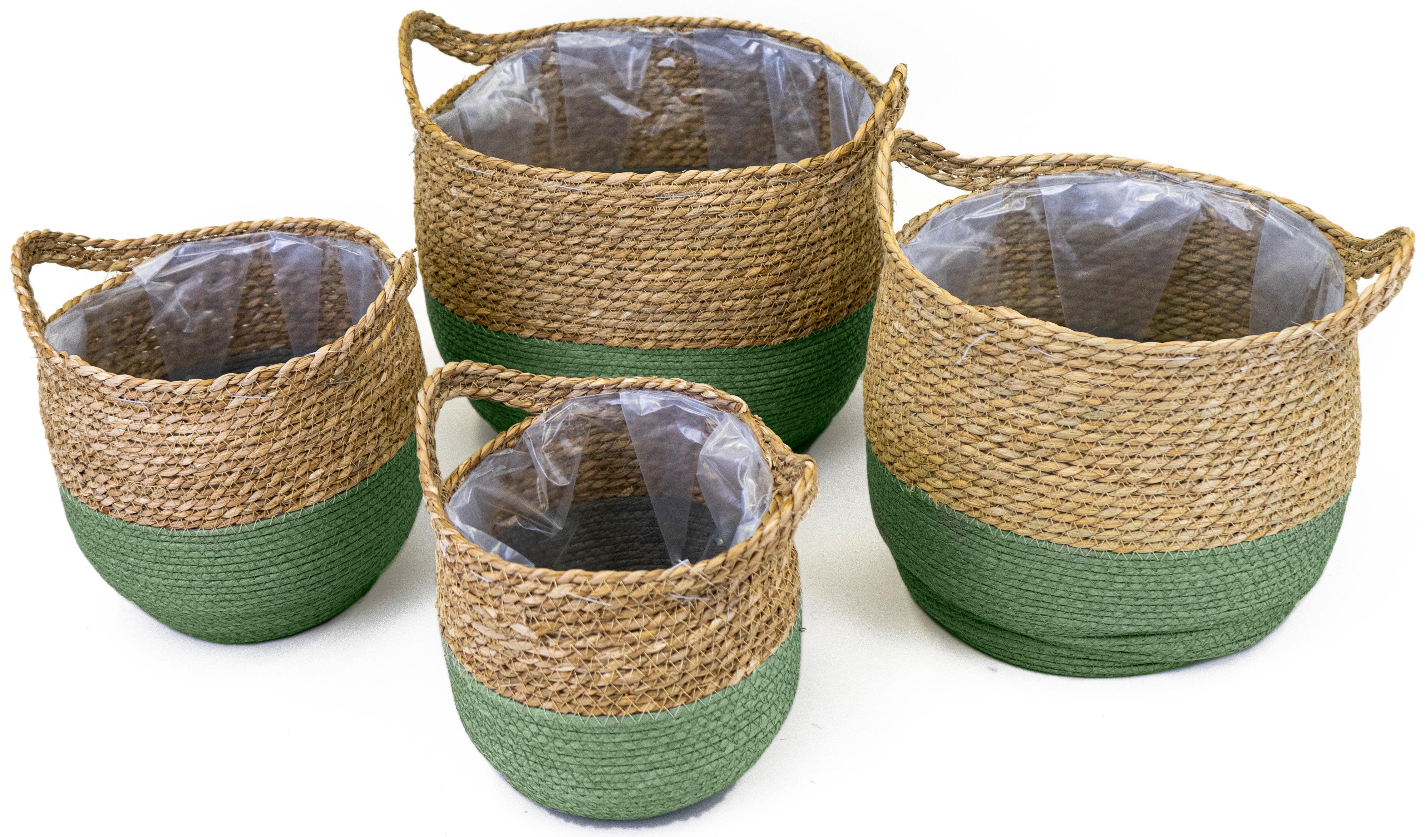 NOOR LIVING Aufbewahrungskorb, (Set, 4 St.), dekorative Aufbewahrung von verschiedenen Utensilien grün Körbe Ordnung Wohnaccessoires Aufbewahrungskorb