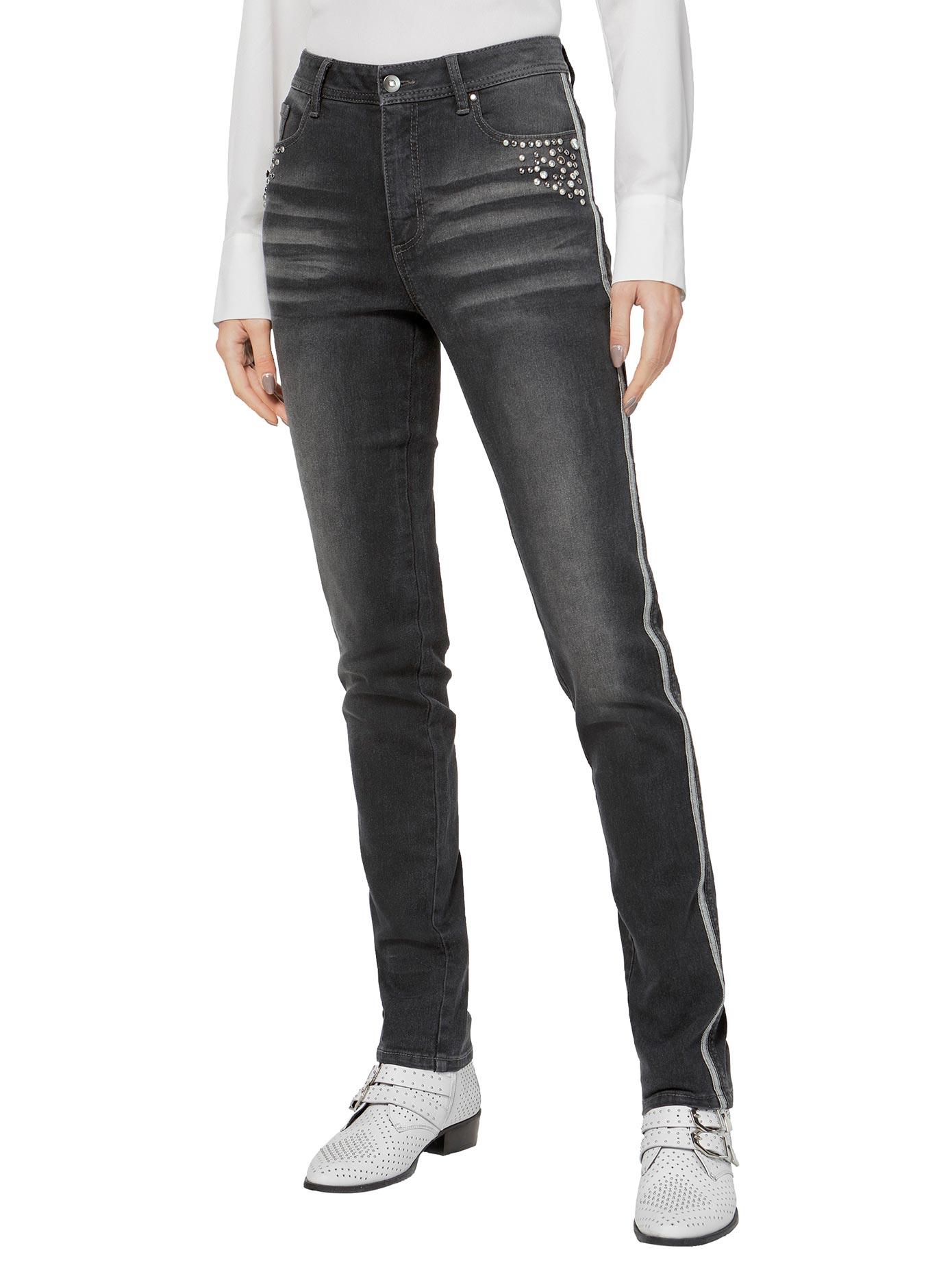 Creation L Jeans mit Metall- und Kristallsteinchen grau Damen Röhrenjeans Jeanshosen