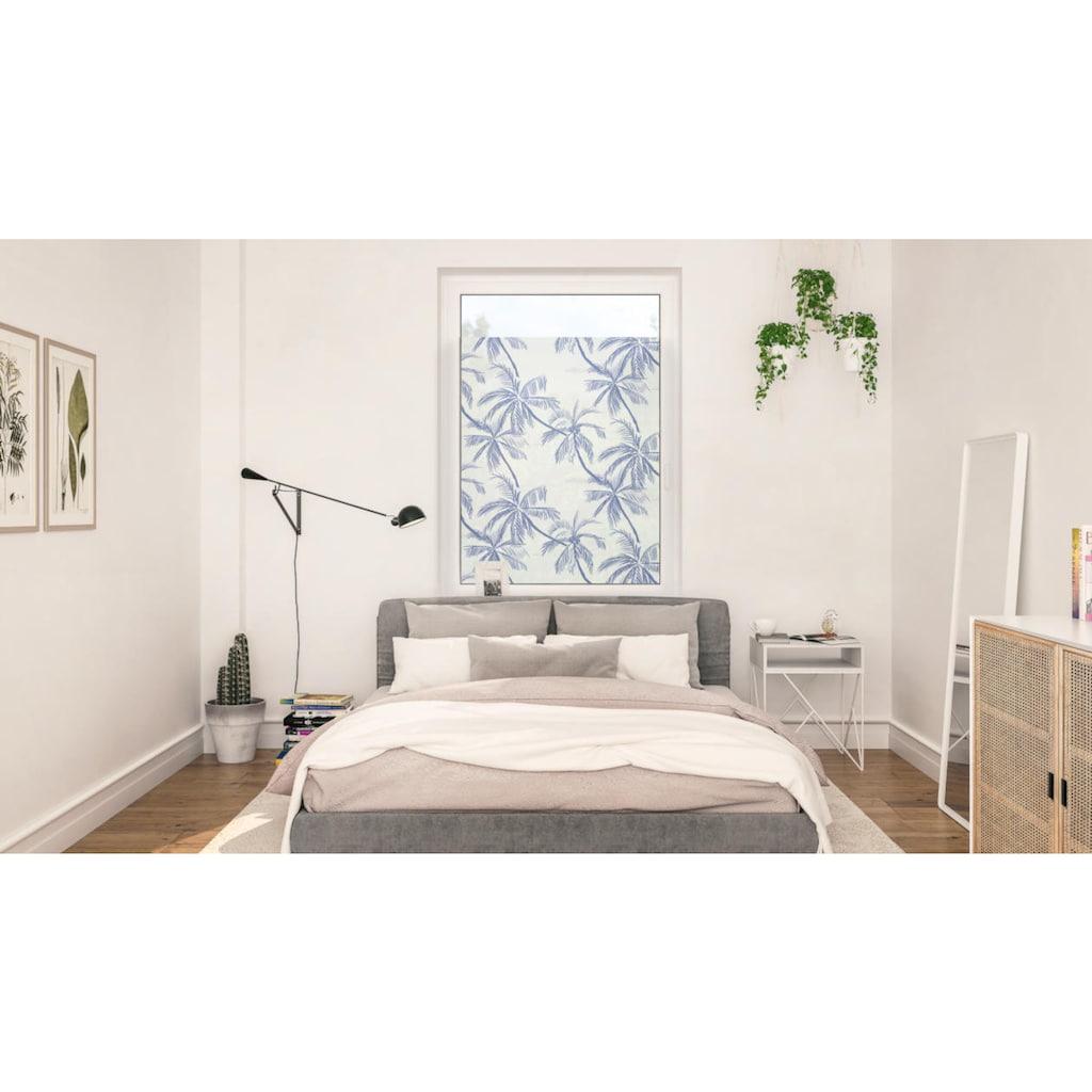 LICHTBLICK ORIGINAL Fensterfolie »Fensterfolie selbstklebend, Sichtschutz, Blueprint Palms - Blau«, 1 St., blickdicht, glattstatisch haftend