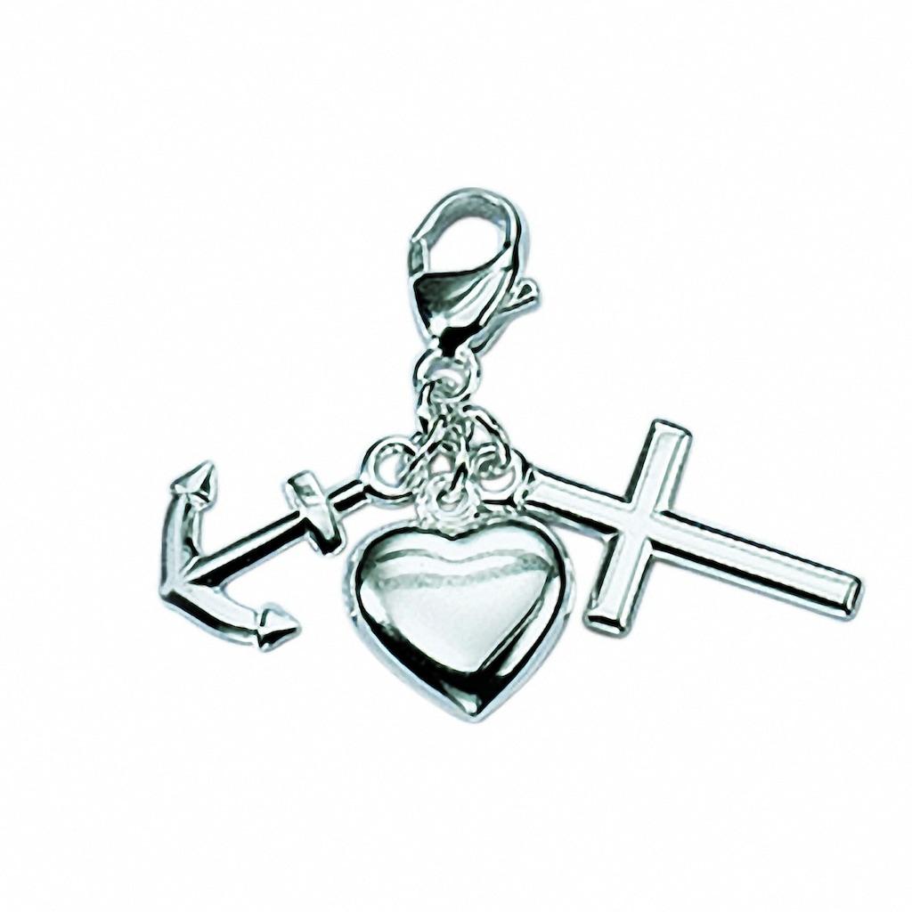 Adelia´s Charm-Einhänger »925 Silber Charms Anhänger Glaube-Liebe«, 925 Sterling Silber Silberschmuck für Damen