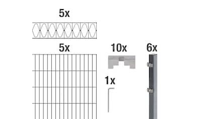 GAH Alberts Doppelstabmattenzaun »Eleganz«, anthrazit, 100 cm hoch, 5 Matten für 10 m,... kaufen