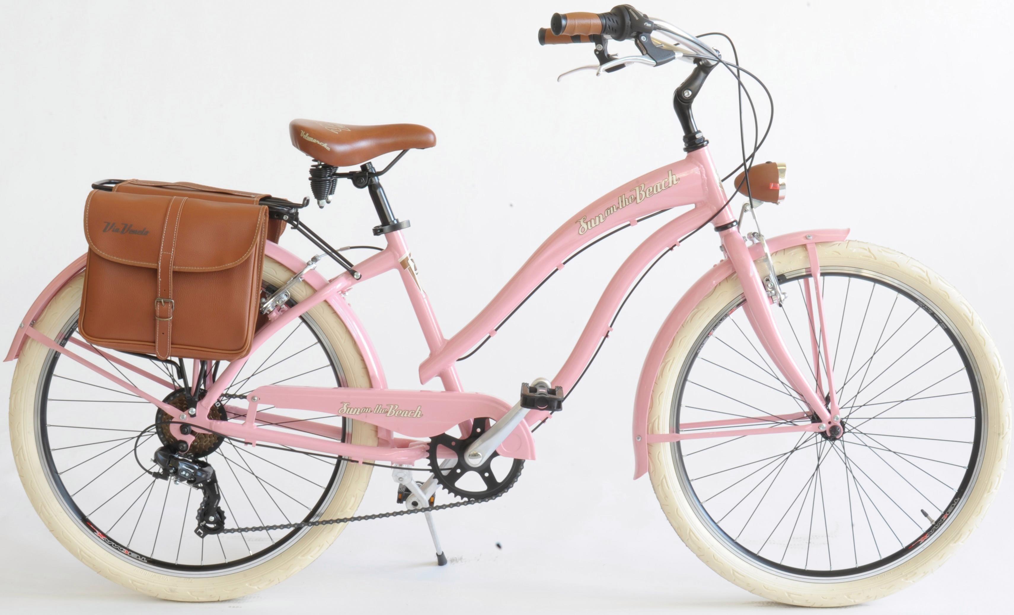 VENICE - I love Italy Cruiser CRUISER Sun on the beach LADY, Kettenschaltung, (Set, 2 tlg., mit Doppeltaschen) rosa Damen Fahrräder Zubehör Fahrrad