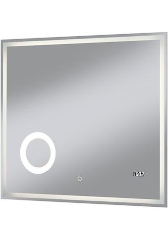 WELLTIME Badspiegel »Flex«, 80 x 70 cm, LED - Beleuchtung, Uhr, Vergrößerungsspiegel kaufen