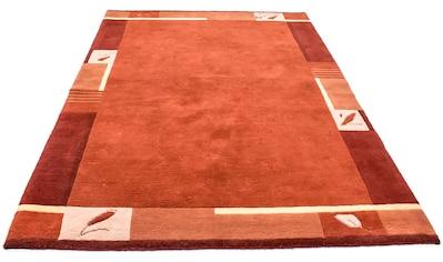 morgenland Wollteppich »Nepal Teppich handgeknüpft orange«, rechteckig, 18 mm Höhe,... kaufen