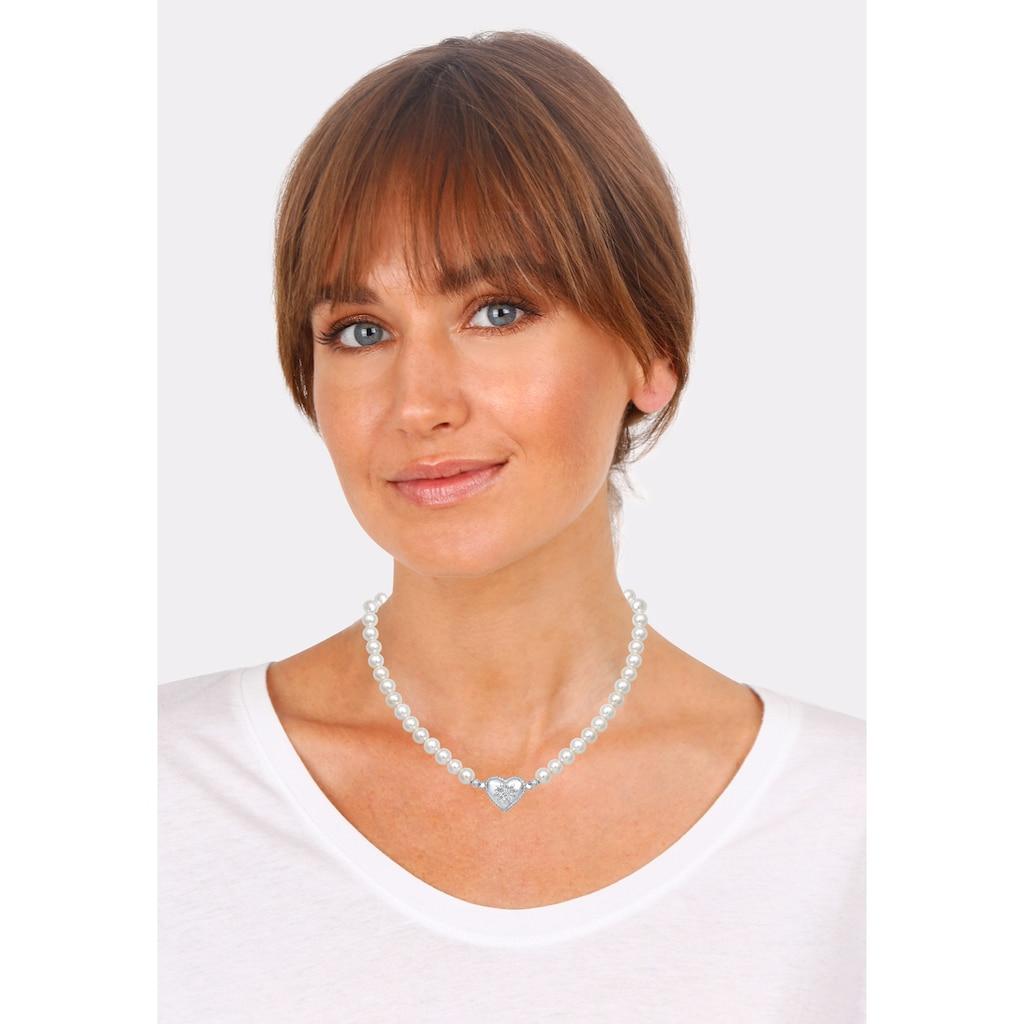 Elli Perlenkette »Perle Wiesn Herz Edelweiss Tracht 925 Silber«