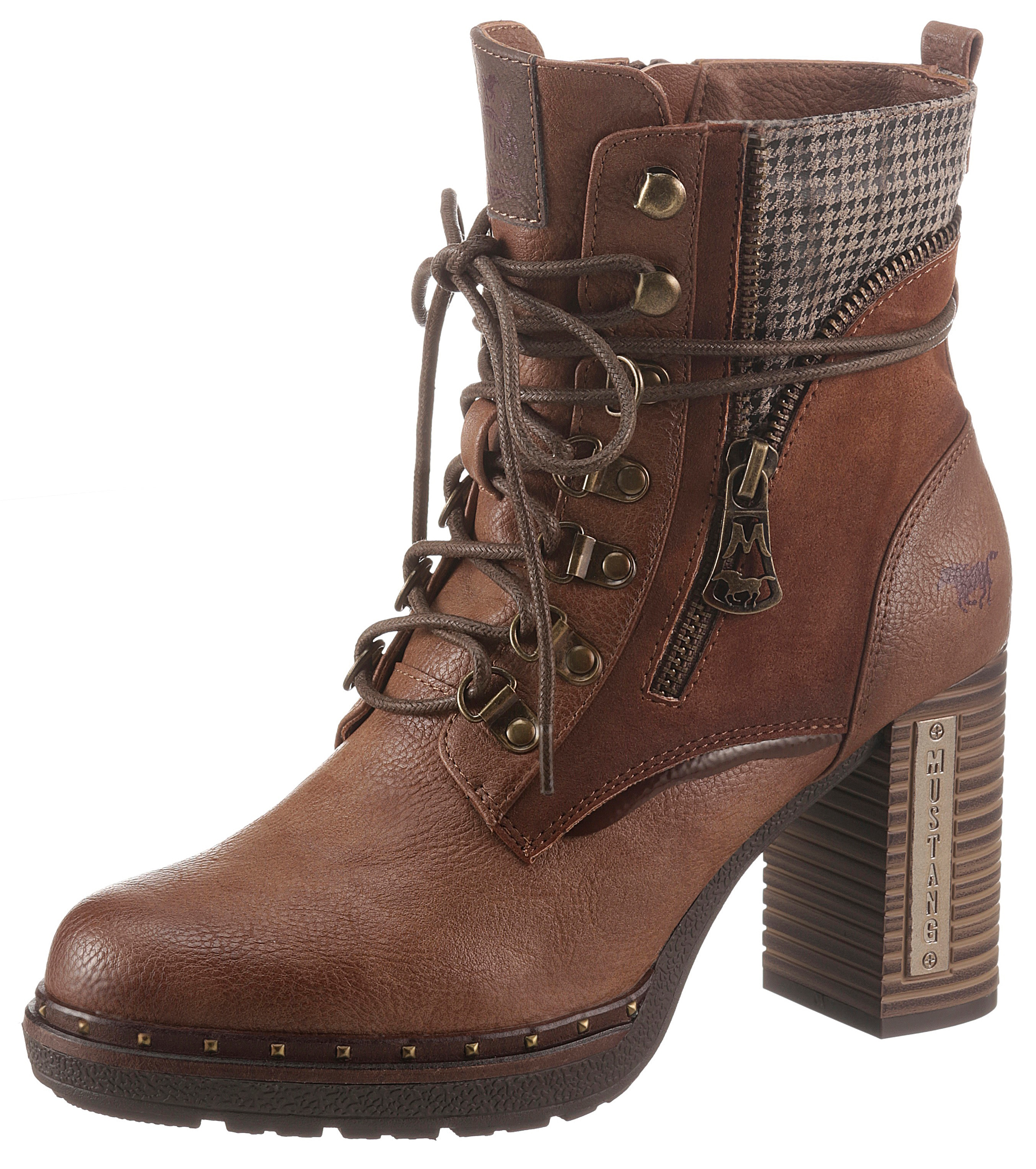 mustang shoes -  Schnürstiefelette, mit Zierreißverschluss außen