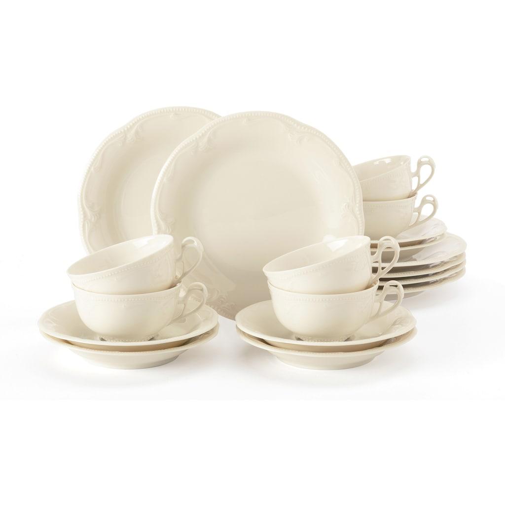 Seltmann Weiden Teeservice »Teeservice Rubin«, (Set, 18 tlg., 6 Teetassen 0,14 l, 6 Untertassen 13 cm, 6 Brotteller 17 cm), zeitlos, verspielte Form
