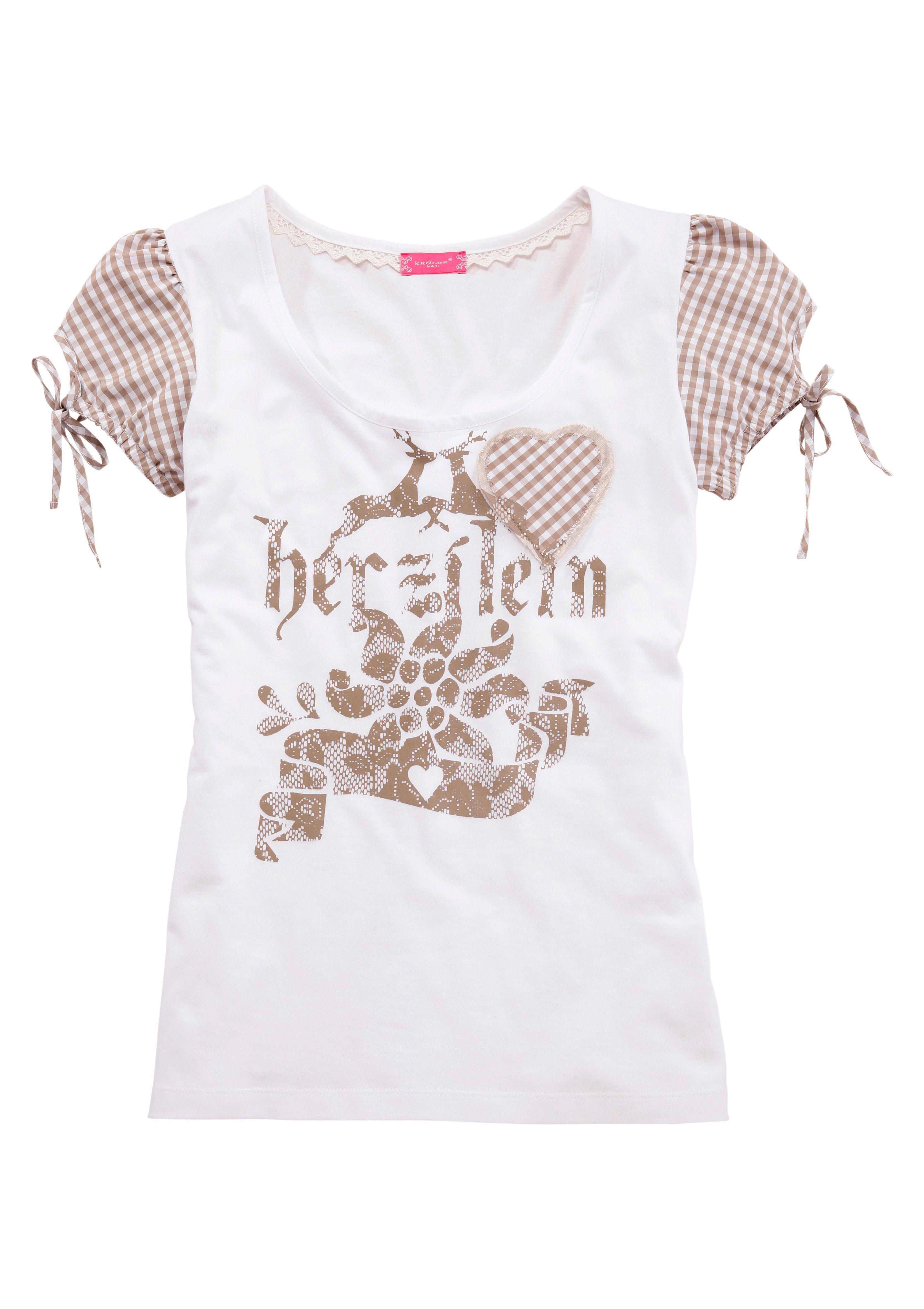 Krüger Madl Trachtenshirt Damen mit Puffärmel Damenmode/Bekleidung/Trachtenmode/Große Größen/Trachtenshirts