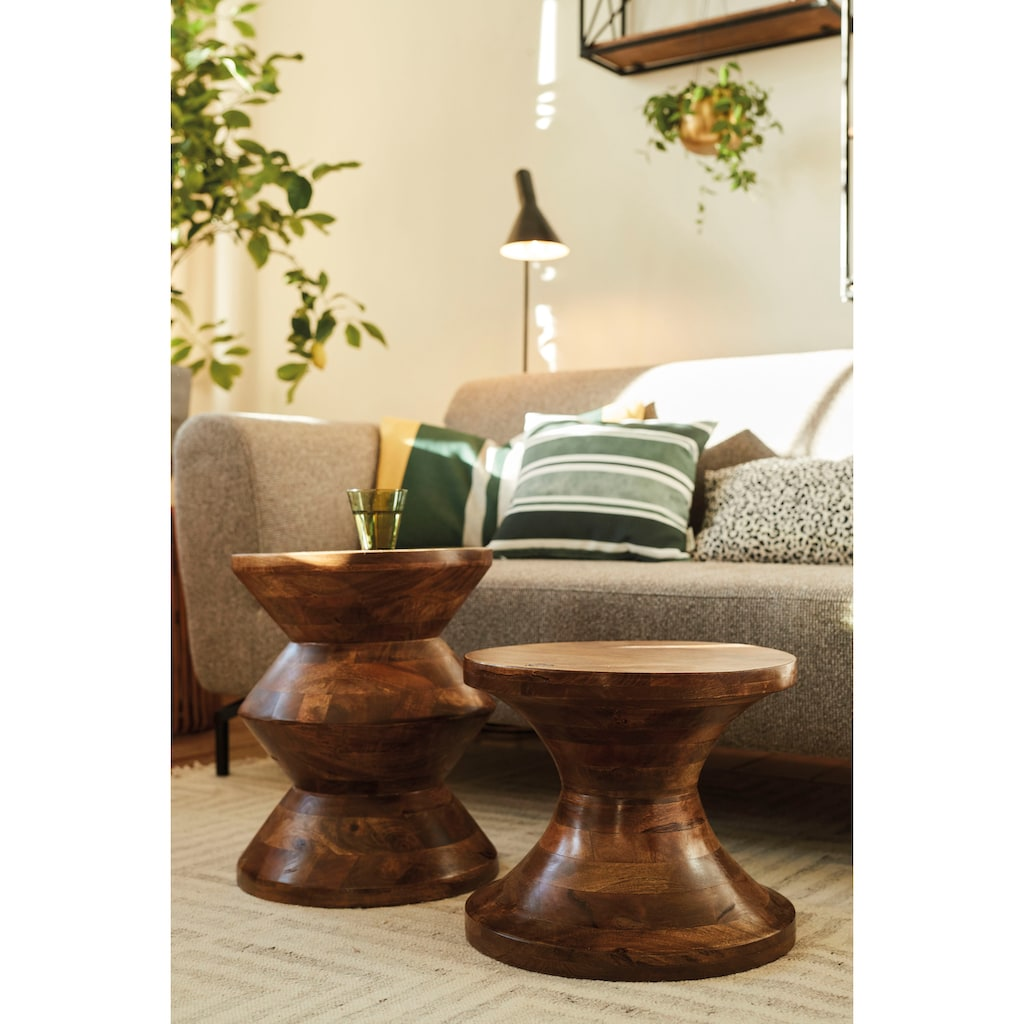TOM TAILOR Hocker »T-WOOD STOOL LOW«, dekorativer Hocker aus Mangoholz, mit Knopfdetail