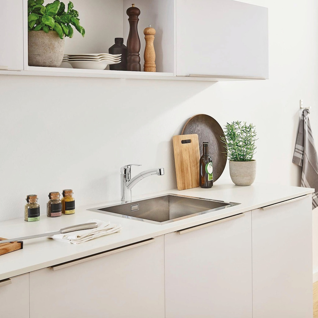 Grohe Küchenarmatur »Eurosmart DN 15«, mit ausziehbarer Brause und Einhand-Batterie, DN 15